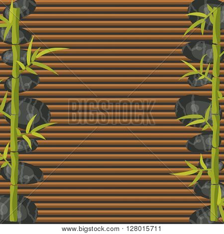 Spa salon square banner border template. Bamboo and pebble rocks on makisu woven mat background.