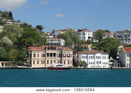 ISTANBUL, TURKEY - APRIL 30, 2016: Buildings in Bosphorus Strait Istanbul City Turkey