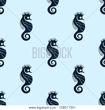 Cartoon Seamless Vector Pattern of Sea Horse