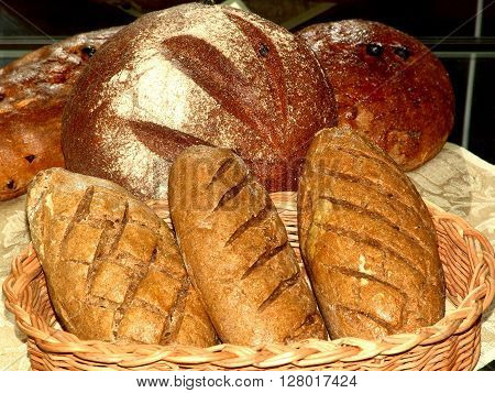 bread in the range of three loaves in a basket