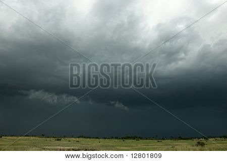 Rain cloud over Africa landscape, Serengeti National Park, Serengeti, Tanzania