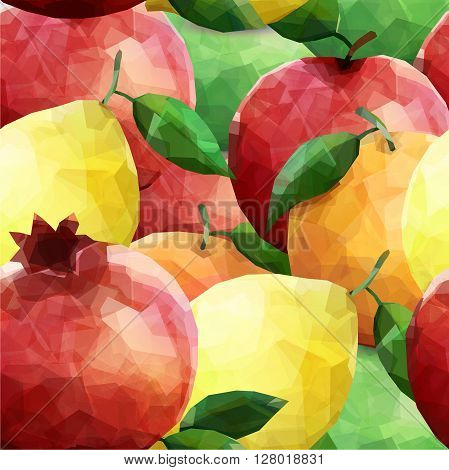 colorful polygonal fruits colorful pattern. Grapefruit lemon garnet apple orange with leafs. Vector seamless pattern