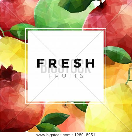 Colorful group of fresh fruits over white with sample text. Fresh fruits square background