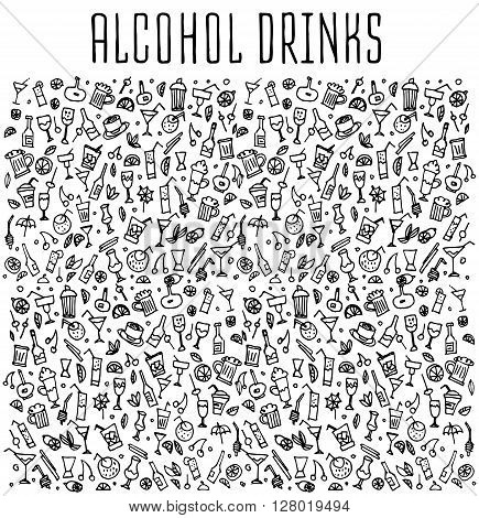 Set of doodles cocktails, hand drawn rough simple sketches of various kinds of cocktails and soft drinks cocktails. Vector freehand cocktails illustration. Hand drawn seamless pattern with cocktails.