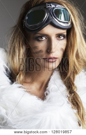 Portrait of young pretty woman fantasy steampunk style