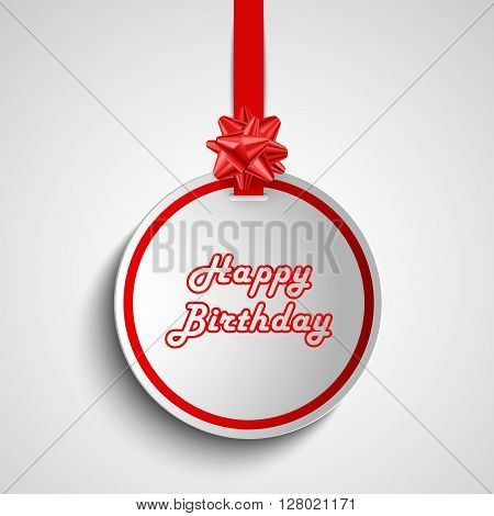 Birthday card with red round sign pointer template vector eps 10