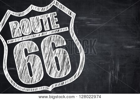 Chalkboard writing: Route 66 sign