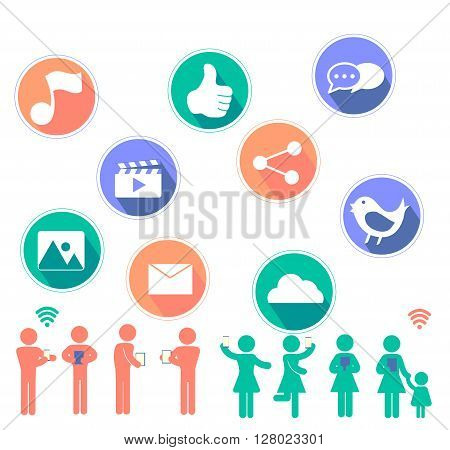 Social Network flat icon design  contain with music note , video,thumb ups,sharing ,image,envelope,cloud,bird icon set