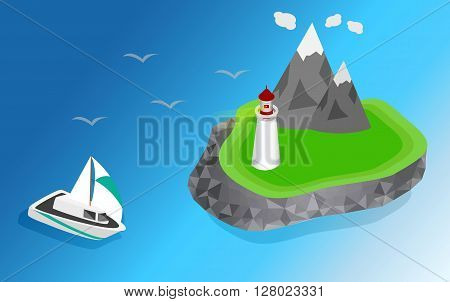 Maritime lighthouse on the island isometric style. The ship is sailing to the lighthouse vector isometric 3D illustration