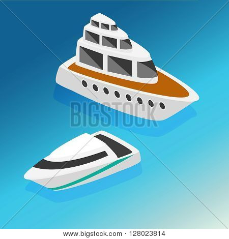 Ships yachts boats isometric icons set isolated vector illustration. Flat 3d isometric ocean sea nautical water transport logistics concept web infographics vector illustration icon set.