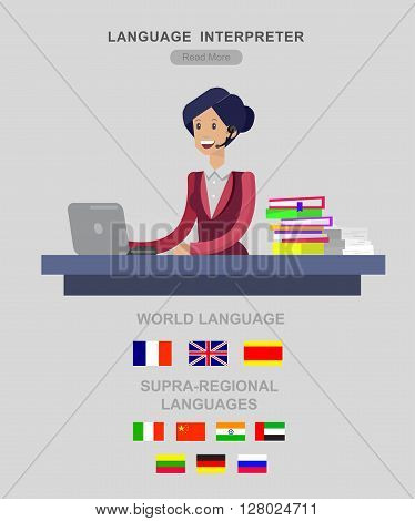 Vector detailed character Language translator concept with woman sitting on table with laptop and with flags of the world languages, cool flat  illustration