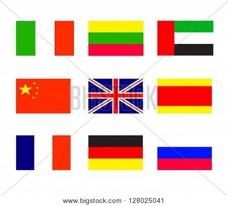 Flags of the of countries, the most widely spoken languages in the world