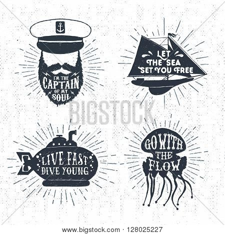 Hand drawn textured vintage badges set with captain face yacht submarine jellyfish and inspirational lettering.