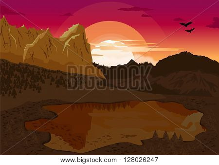 beautiful natural summer landscape with mountain lake and silhouette of the birds at dawn