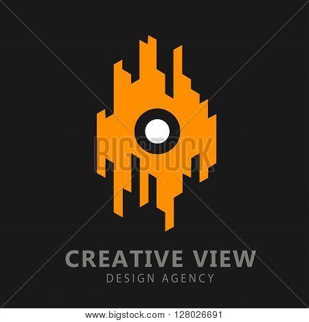 Business Icon - Vector logo concept for design agency. Creative design process concept for web studio. Business vision, smart solution and success idea