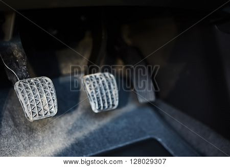 The brake and accelerator pedal of car