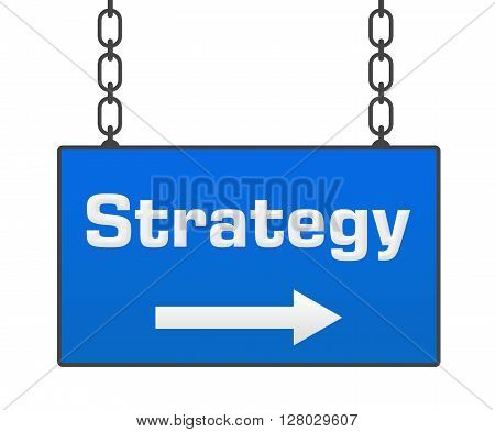 Strategy text written over hanging blue signboard.