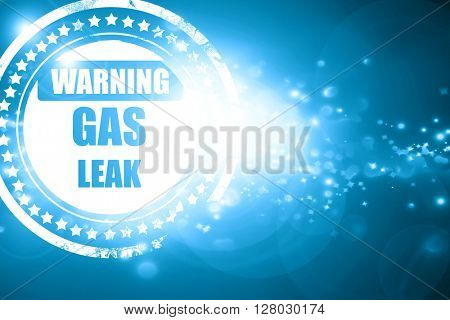 Blue stamp on a glittering background: Gas leak background