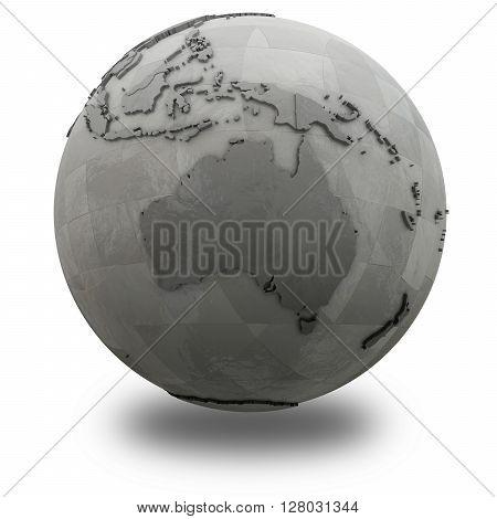 Australia On Metallic Planet Earth