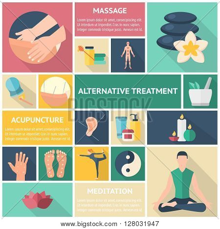 Acupuncture long shadow icon set with description of massage alternative treatment acupuncture and meditation vector illustration