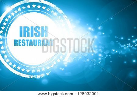 Blue stamp on a glittering background: Delicious irish cuisine