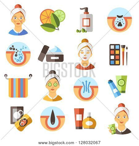 Acne Flat Icon Set to the causes acne and how to combat them spa treatments and make-up vector illustration