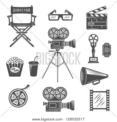 Cinema black white icons set with projector clapper megaphone reel 3d-glasses snack drink isolated vector illustration