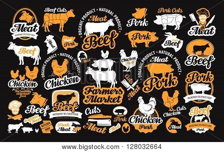 vector set of butchery labels, logos, icons and design elements