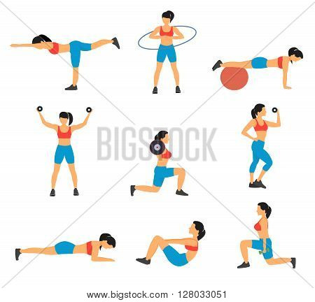 Fitness decorative flat icons set with collection of exercises with ball hoop weight dumbbells isolated vector illustration
