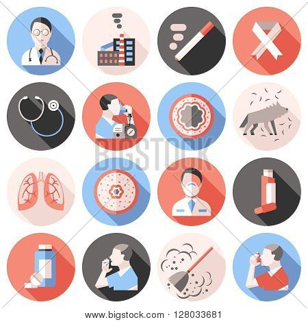 Asthma shadow icons flat set in colored circles with descriptions of about treatments allergens and sick people vector Illustration