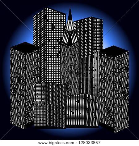 Night skyscrapers. Simple label for beautiful creative design