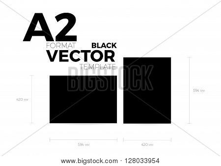A2 page format black vector eps10 template. vertical and horizontal orientation design with A2 format size. Vector editable black page template