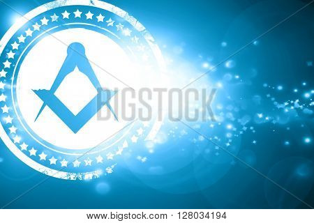 Blue stamp on a glittering background: Masonic freemasonry symbo