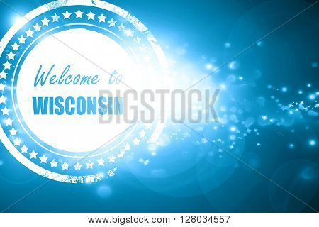 Blue stamp on a glittering background: Welcome to wisconsin