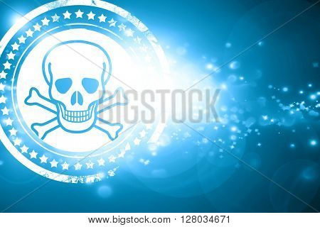 Blue stamp on a glittering background: Poison sign background