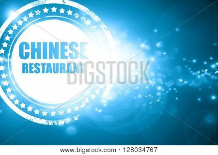Blue stamp on a glittering background: Delicious chinese restaur