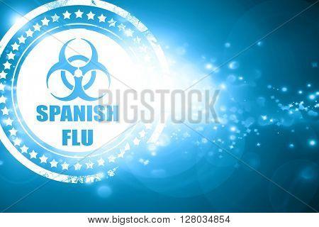 Blue stamp on a glittering background: Spanish flu concept backg