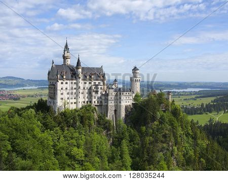 Neuschwanstein Castle on the top of the mountain Fairytale castle in Bavaria Germany