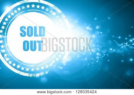 Blue stamp on a glittering background: sold out sign
