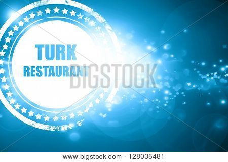 Blue stamp on a glittering background: Delicious Turkish cuisine