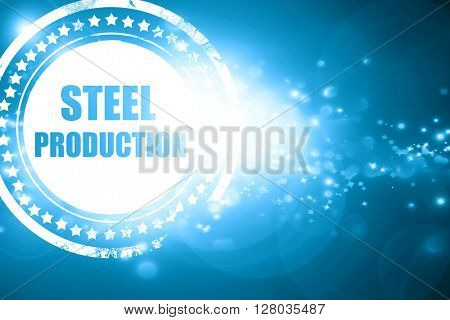Blue stamp on a glittering background: Steel background