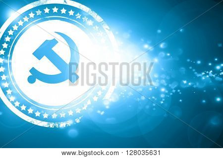 Blue stamp on a glittering background: Communist sign with red a