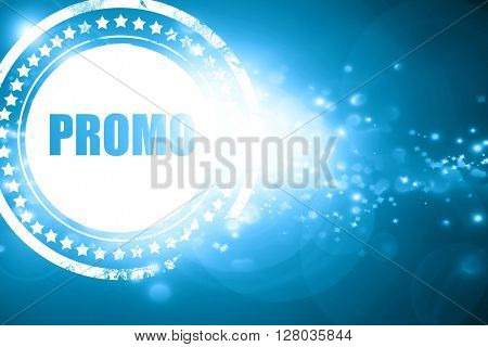 Blue stamp on a glittering background: promo sign background