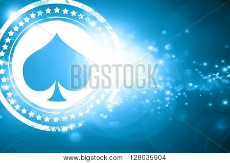 Blue stamp on a glittering background: Spade card background