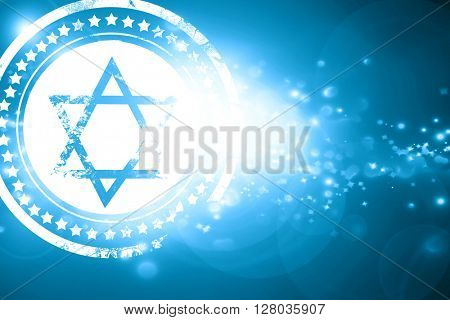 Blue stamp on a glittering background: Star of david