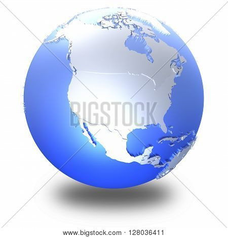 North America On Bright Metallic Earth