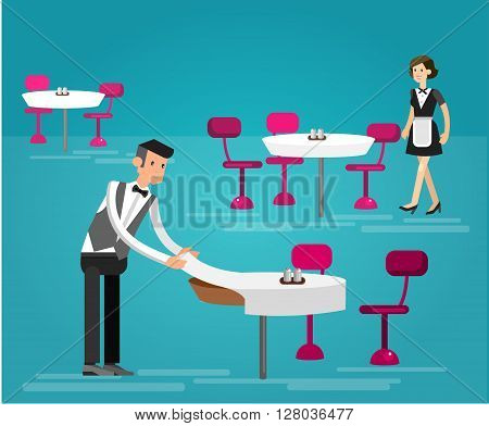 Vector detailed character people in the restaurant, service for public and personnel, waiter served tables