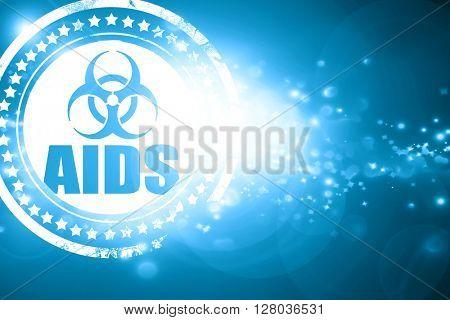 Blue stamp on a glittering background: Aids virus concept backgr