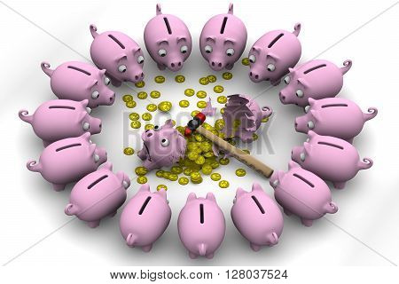 Broken Pig piggy bank with coins of the British Pound Sterling is surrounded by many piggy banks on a white surface. Isolated. 3D Illustration