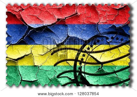 Grunge Mauritius flag with some cracks and vintage look